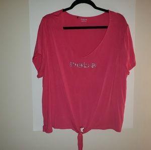 Cute Hot Pink bebe 3X Diamond Studded Shirt